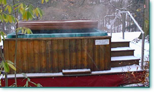 Eight to ten person spa hot tub rental from Hot Tubs on Wheels